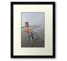 Boys First Beach Day Framed Print