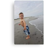 Boys First Beach Day Canvas Print