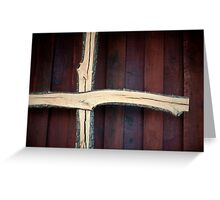 Wooden Christian Cross with Stained Barn Wood Greeting Card