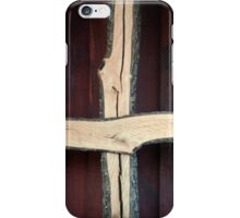 Wooden Christian Cross with Stained Barn Wood iPhone Case/Skin