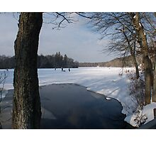 Ice Fishing on Barber's Pond. Photographic Print
