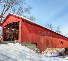 Oakalla Covered Bridge and Snow by Kenneth Keifer
