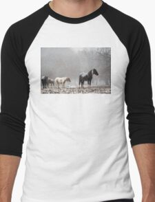Horses Standing Quietly on a Hilltop in Light Snowfall Men's Baseball ¾ T-Shirt