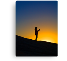 Woman in silhouette on Remarkable Rocks Canvas Print
