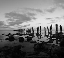 Jetty 3 in black n white by Lois Romer