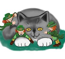 Three Leprechauns and a Kitten are Friends by NineLivesStudio
