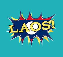 The flag of Laos KAPOW starburst  by piedaydesigns