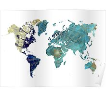 World map wind rose Poster