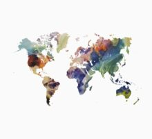 World Map watercolor painting Kids Clothes