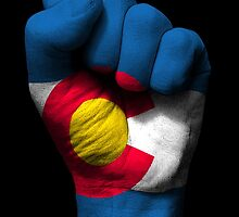 Flag of Colorado on a Raised Clenched Fist  by Jeff Bartels