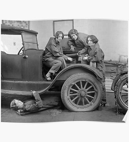 Young Lady Auto Mechanics, 1927 Poster