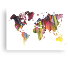 World Map colored Canvas Print
