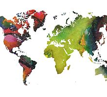 Map of the world green red by JBJart