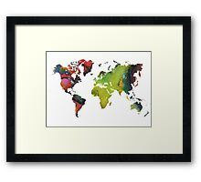 Map of the world green red Framed Print