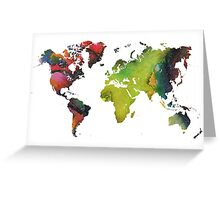 Map of the world green red Greeting Card