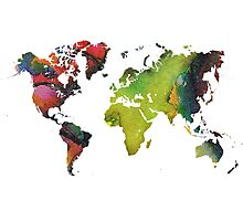 Map of the world green red Photographic Print