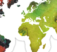 Map of the world green red Sticker