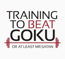 Training to beat Goku - Mr.Satan - Black Letters by m4x1mu5