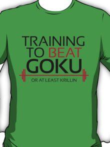 Training to beat Goku - Krillin - Black Letters T-Shirt