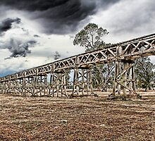 Old railway bridge at Gundagai by John Vandeven