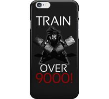 Train over 9000-BW White Letters iPhone Case/Skin