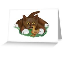 Duckling and Brown Tuxedo Kitten Greeting Card