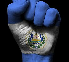 Flag of El Salvador on a Raised Clenched Fist  by Jeff Bartels
