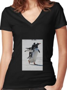 Off he goes Women's Fitted V-Neck T-Shirt