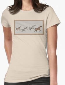 Cave Horses in Brown Womens Fitted T-Shirt