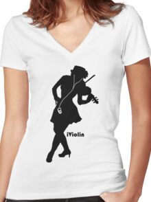 iViolin Women's Fitted V-Neck T-Shirt