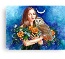 Woman With Owl Canvas Print