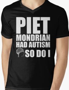 AUTISM AWARE - Piet Mondrian HAD AUTISM SO DO I Mens V-Neck T-Shirt