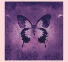 Purple Butterfly One Piece - Short Sleeve