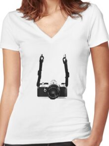 Classic Vintage 35mm Film SLR Camera Pentax MX  Women's Fitted V-Neck T-Shirt