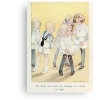 Vintage Children - Girl with holes in stockings Canvas Print