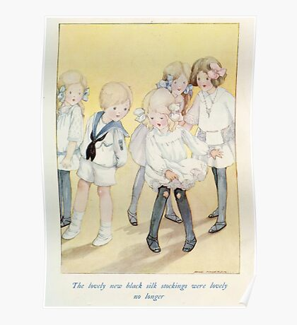 Vintage Children - Girl with holes in stockings Poster