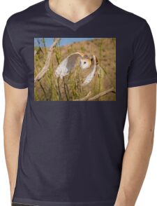 Barn Owl in Flight Mens V-Neck T-Shirt