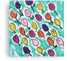 Tulips - aqua Canvas Print