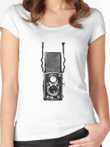 Classic Retro Rolleiflex Twin Lens Reflex Film Camera Women's Fitted Scoop T-Shirt