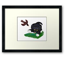 Bird Swoops after Tuxedo Kitten Framed Print