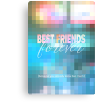 Best Friends Forever Pastel Mosaic Stained Glass Canvas Print