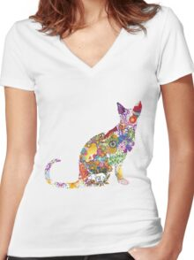 Colourful Kitty Women's Fitted V-Neck T-Shirt