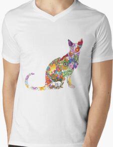 Colourful Kitty Mens V-Neck T-Shirt