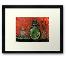 Study: Candle holder,Green Vase & Glass Air Diffuser Framed Print
