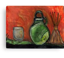 Study: Candle holder,Green Vase & Glass Air Diffuser Canvas Print