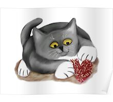 Kitten Plays with a Fluffy Heart Toy Poster
