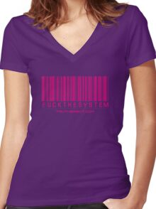 F-ck the System Pink Women's Fitted V-Neck T-Shirt