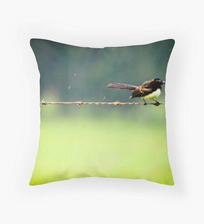 Bird on a wire in rain Throw Pillow