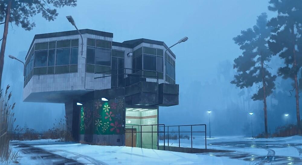 The City Council Dreams Of Flowers by Simon Stålenhag
