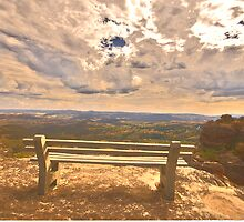 Contemplation - Hassans Walls Lookout - Blue Mountains - The HDR Experience by Philip Johnson